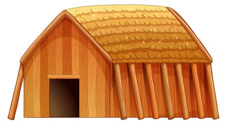 하나의 나무 오두막의 그림