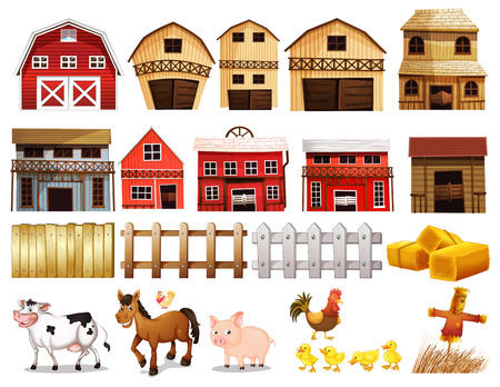 Illustration of different pictures of farm Vectores