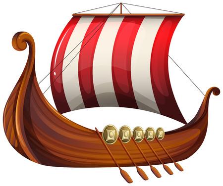 Afbeelding van een schip een Viking op een witte achtergrond Stock Illustratie