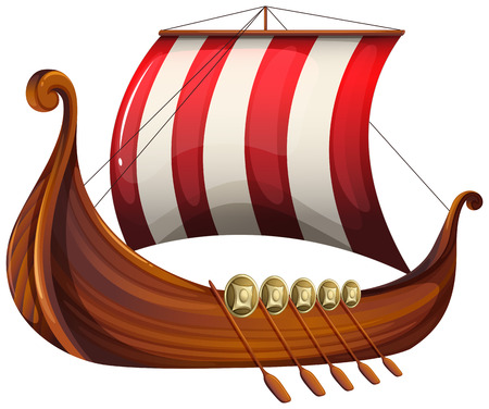 barco caricatura: Ilustraci�n de la nave de un vikingo en un fondo blanco Vectores