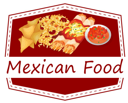 rice and beans: Illustration of Mexican food