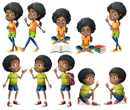 dark complexion: Illustration of the African-American kids on a white background