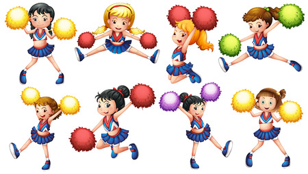 Illustration of many cheerleaders with pom pom Vector