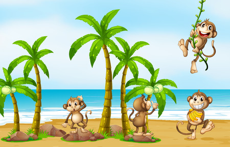 cute cartoon monkey: Illustration of monkeys on the beach