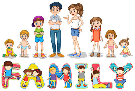 Illustration of family members and wording