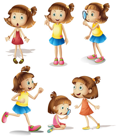 Illustration of girls with different actions