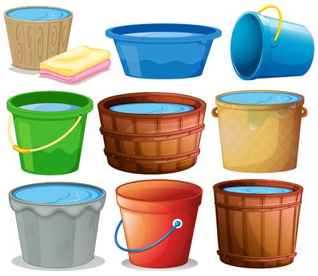 Illustratie van vele emmers Stock Illustratie