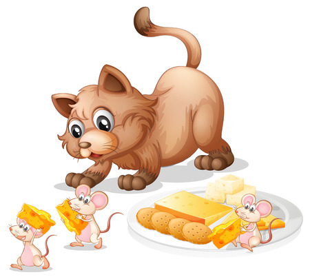 white cheese: Illustration of a cat and mice