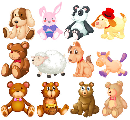 Illustration of many stuffed animals Vector