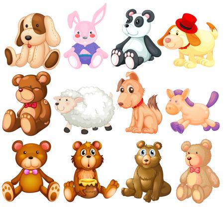 sheep clipart: Illustration of many stuffed animals