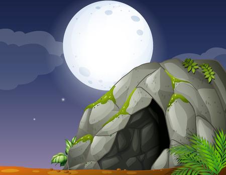 cueva: Ilustración de la cueva y la luna llena