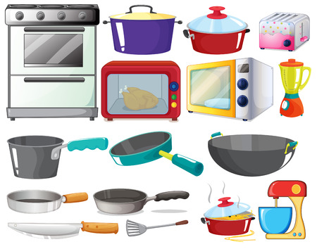 gas stove: Illustration of kitchen equipments