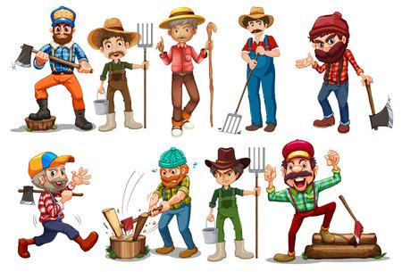 rural wooden bucket: Illustration of farmers and lumberjacks Illustration