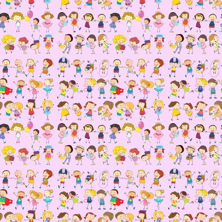 Illustration of seamless children movements Vector