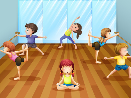 getting ready: Illustration of children getting ready for a ballet class Illustration