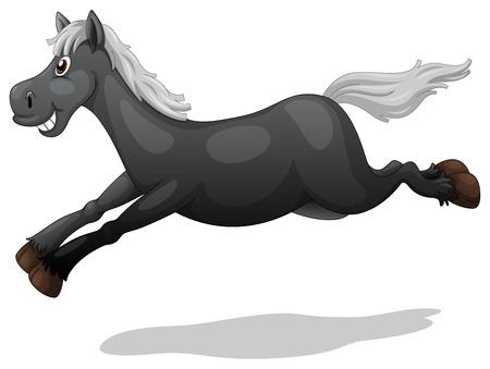 stride: Illustration of a black horse running Illustration