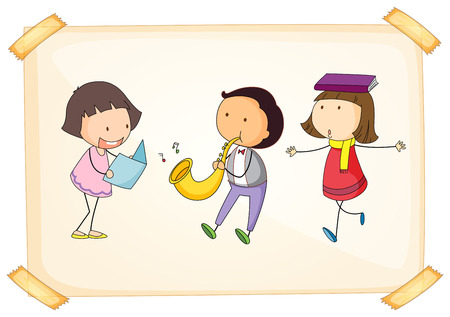 Illustration of a frame with three adorable kids on a white background Vector