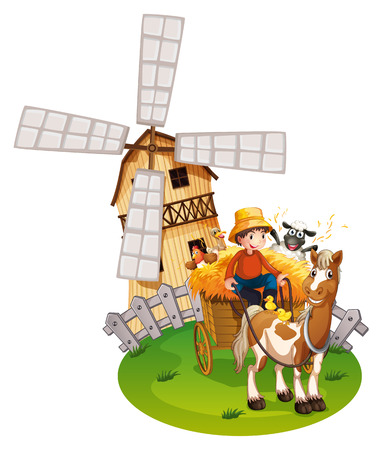 hay: Illustration of a farmboy with windmill