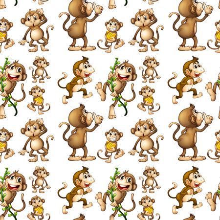 바나나와 원활한 원숭이의 그림