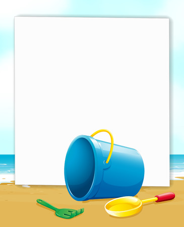 bucket of water: Illustration of a banner with ocean view