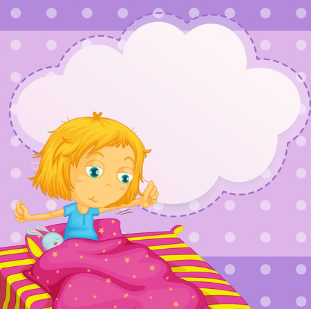 teen girl bedroom: Illustration of a girl getting up