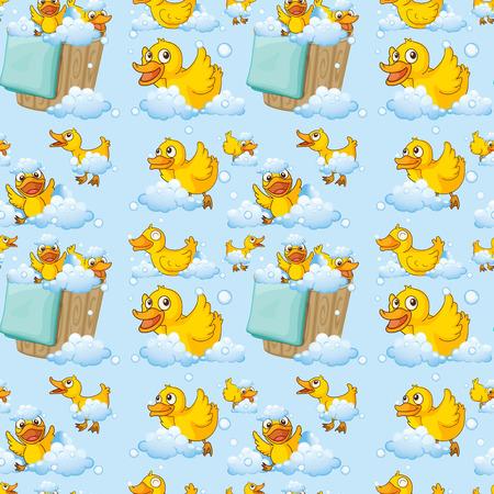 cartoon wood bucket: Illustration of seamless ducks