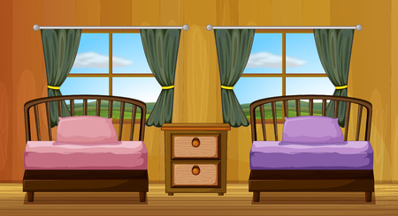 breakfast in bed: Illustration of a bedroom with two beds Illustration