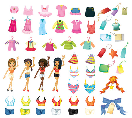 cartoon underwear: Illustration of a set of girls and dresses