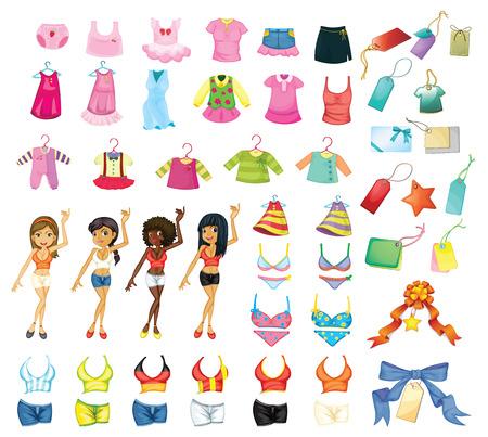 bikini: Illustration of a set of girls and dresses