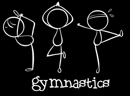 labelling: Illustration of the three gymnasts on a black background