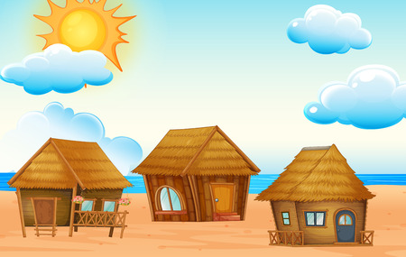 Illustration of huts on the beach Vector