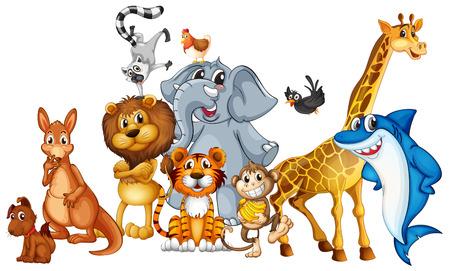 mono caricatura: Ilustración de muchos animales en pie