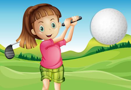 teen golf: Ilustración de una niña jugando golf