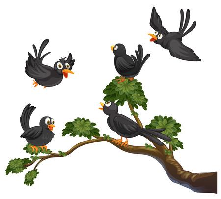 Illustratie van vele zwarte vogels op een tak