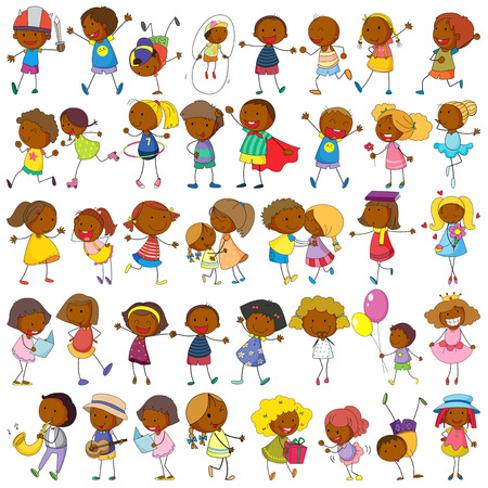 Illustration of children doing many activities Vector