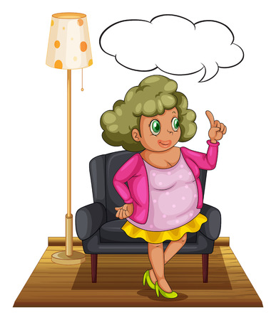 Illustration of a woman standing in a living room Vector
