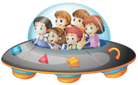 Illustration of many children on a spaceship Vector