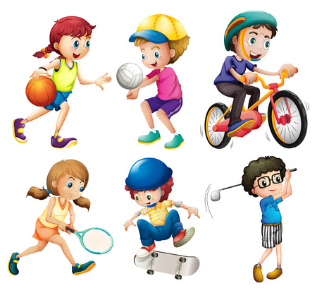 Illustration of children playing sports Vectores
