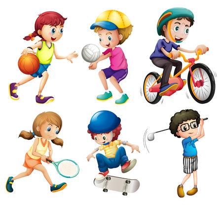 niños jugando: Ilustración de niños jugando deportes