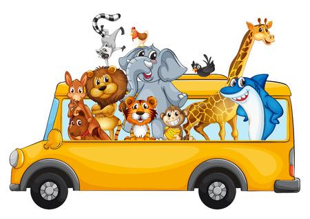 tigre caricatura: Ilustración de muchos animales en un autobús escolar