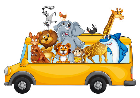 Illustration of many animals on a school bus