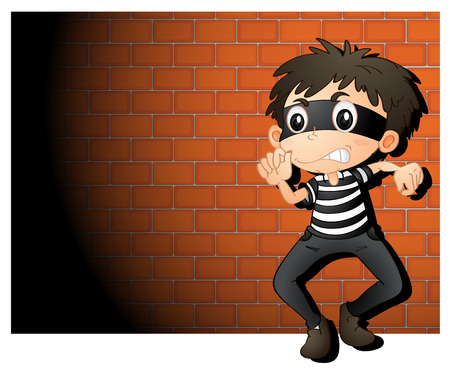 Illustration of a  thief in spotlight 일러스트