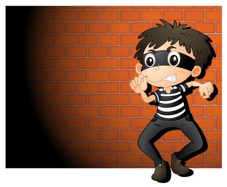 스포트 라이트에서 도둑의 그림