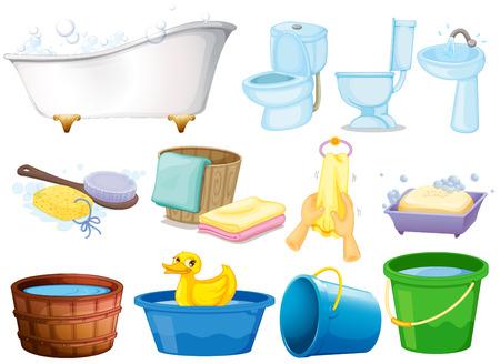 Illustratie van de badkamer apparatuur Vector Illustratie