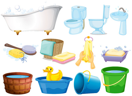 faucet water: Illustration of bathroom equipments Illustration