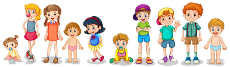 peers: Illustration of different stages of boys and girls