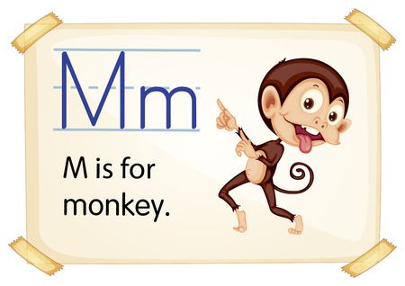 letter alphabet pictures: Illustration of a flashcard with letter M