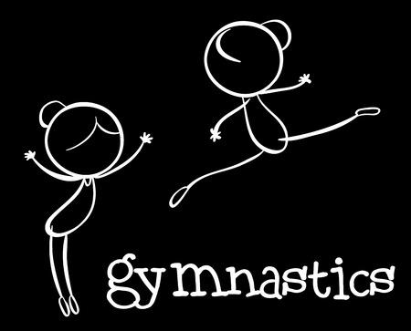 stickmen: Illustration of stickmen doing gymnastics