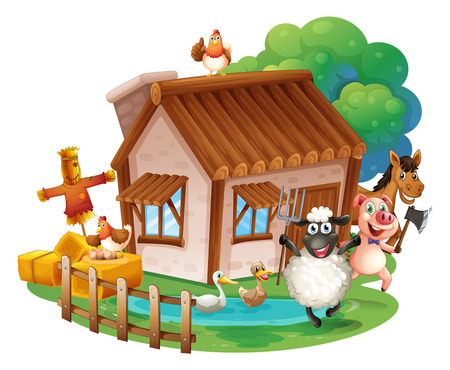 contryside: Illustration of many animals and a cottage