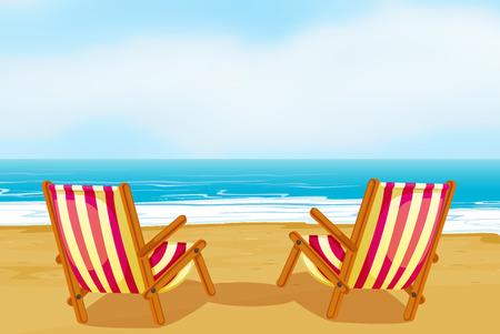 strandstoel: Illustratie van twee stoelen op een strand